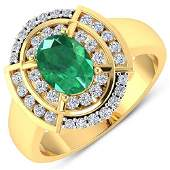 Natural 267 CTW Zambian Emerald  Diamond Ring 14K