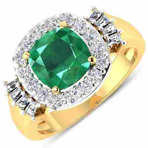 Natural 2.73 CTW Zambian Emerald & Diamond Ring 14K