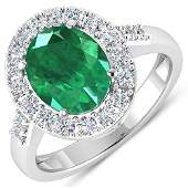 Natural 275 CTW Zambian Emerald  Diamond Ring 14K