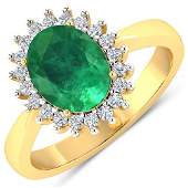 Natural 239 CTW Zambian Emerald  Diamond Ring 14K