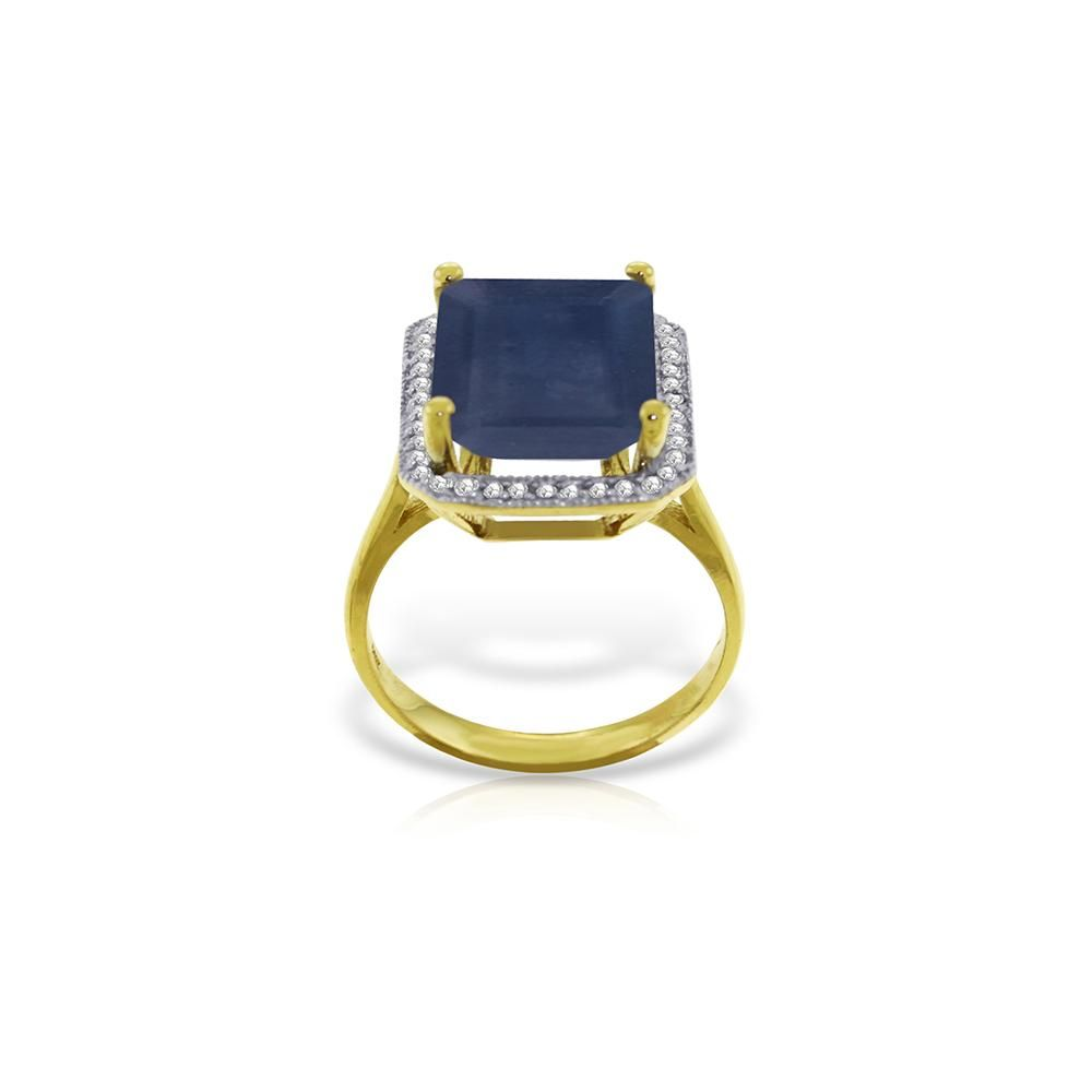 Genuine 6.6 ctw Sapphire & Diamond Ring 14KT Yellow