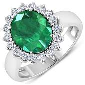 Natural 368 CTW Zambian Emerald  Diamond Ring 14K