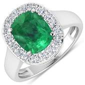 Natural 301 CTW Zambian Emerald  Diamond Ring 14K