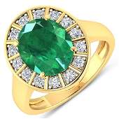 Natural 356 CTW Zambian Emerald  Diamond Ring 14K