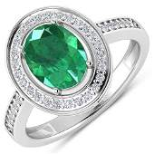 Natural 187 CTW Zambian Emerald  Diamond Ring 14K