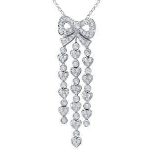 Natural 1.11 CTW Diamond & Pendant 18K White Gold -