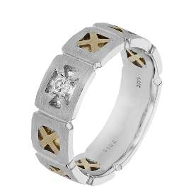 Natural 0.11 CTW Diamond Ring 14K Two Tone Gold -