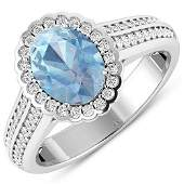 Natural 1.82 CTW Aquamarine & Diamond Ring 14K White