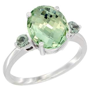 2.64 CTW Amethyst & Green Sapphire Ring 10K White Gold