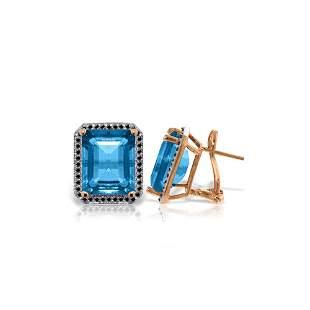 Genuine 15.6 ctw Blue Topaz & Black Diamond Earrings