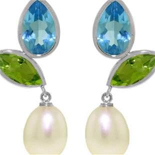 Genuine 16.6 ctw Blue Topaz & Peridot Earrings 14KT