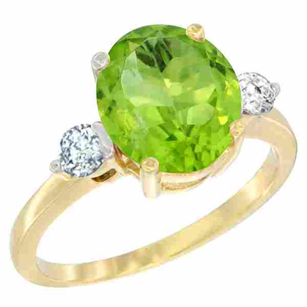 2.98 CTW Peridot & Diamond Ring 14K Yellow Gold -