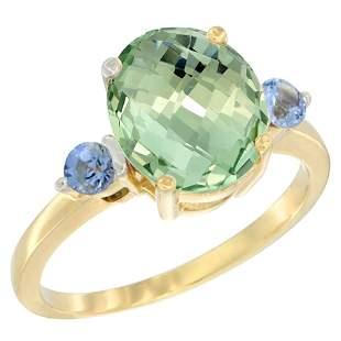 2.64 CTW Amethyst & Blue Sapphire Ring 10K Yellow Gold