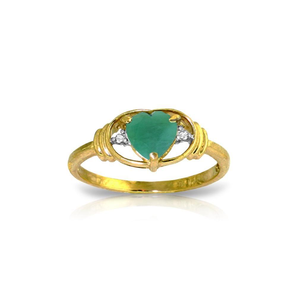 Genuine 1.01 ctw Emerald & Diamond Ring 14KT Yellow