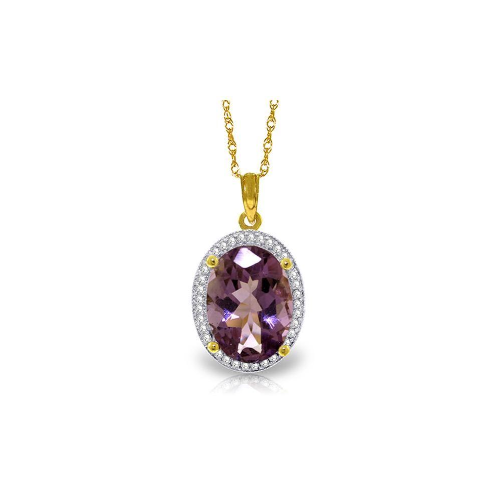 Genuine 5.28 ctw Amethyst & Diamond Necklace 14KT
