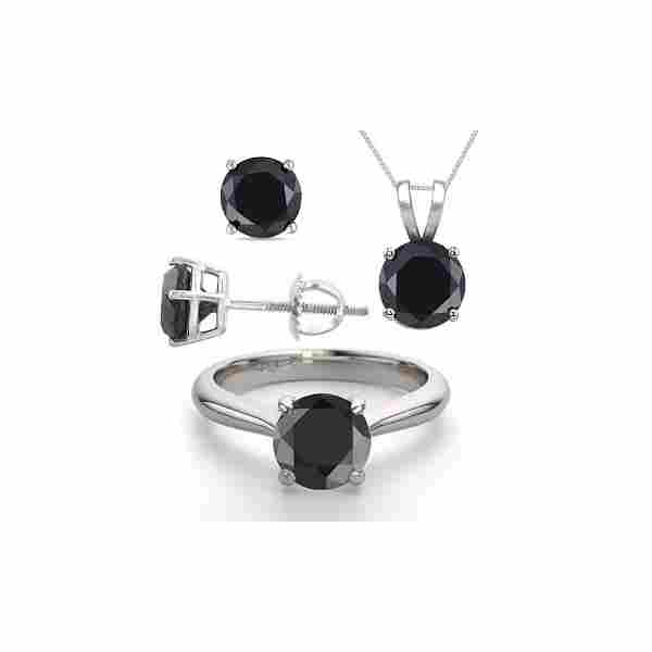 14K White Gold SET 8.0CTW Black Diamond Ring, Earrings,