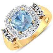 Natural 2.43 CTW Aquamarine & Diamond Ring 14K Yellow