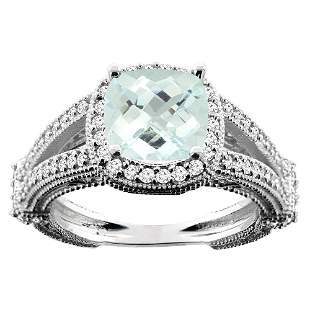 4.10 CTW Aquamarine & Diamond Ring 10K White Gold -