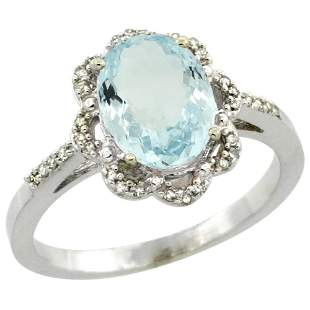 1.52 CTW Aquamarine & Diamond Ring 10K White Gold -