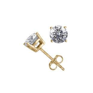 14K Yellow Gold 1.06 ctw Natural Diamond Stud Earrings