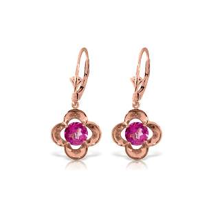 Genuine 1.10 ctw Pink Topaz Earrings 14KT Rose Gold -