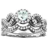 0.92 CTW Aquamarine & Diamond Ring 10K White Gold -