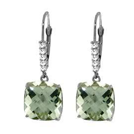 Genuine 7.35 ctw Green Amethyst & Diamond Earrings 14KT