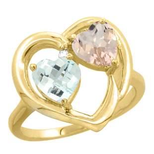 1.91 CTW Diamond, Aquamarine & Morganite Ring 14K