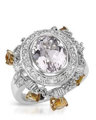 Natural 8.44 CTW Kunzite & Diamond Ring 18K Two Tone