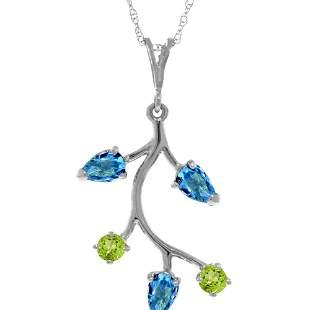 Genuine 0.95 ctw Blue Topaz & Peridot Necklace 14KT