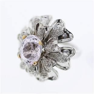 Natural 5.79 CTW Kunzite & Diamond Ring 18K Two Tone