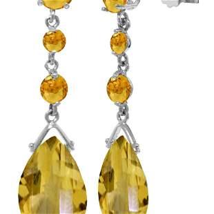 Genuine 13.2 ctw Citrine Earrings 14KT White Gold -