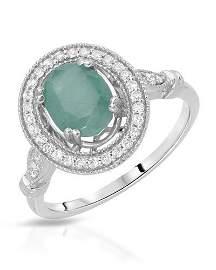 Natural 1.60 CTW Emerald & Diamond Ring W=13MM 14K Gold