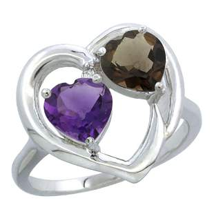 2.61 CTW Diamond, Amethyst & Quartz Ring 14K White Gold