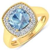 Natural 2.18 CTW Aquamarine & Diamond Ring 14K Yellow