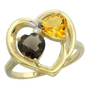 2.61 CTW Diamond, Quartz & Citrine Ring 14K Yellow Gold
