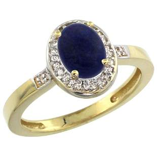 0.90 CTW Lapis Lazuli & Diamond Ring 10K Yellow Gold -