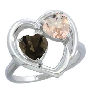 1.91 CTW Diamond, Quartz & Morganite Ring 10K White
