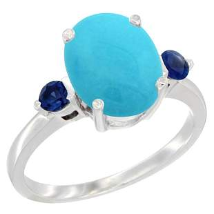 2.64 CTW Turquoise & Blue Sapphire Ring 10K White Gold