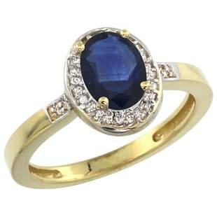1.15 CTW Blue Sapphire & Diamond Ring 10K Yellow Gold -
