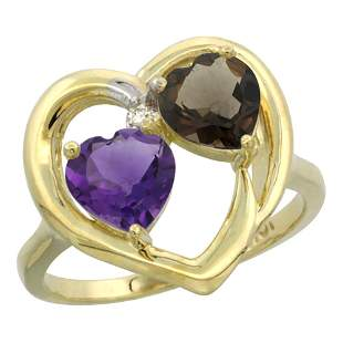 2.61 CTW Diamond, Amethyst & Quartz Ring 14K Yellow