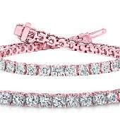 Natural 7ct VS2-SI1 Diamond Tennis Bracelet 14K Rose