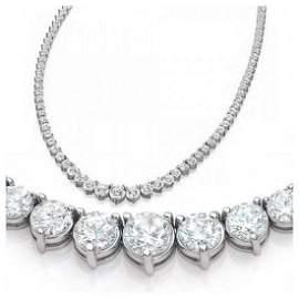 Natural 6.56CTW VS2/I-J Diamond Tennis Necklace 18K