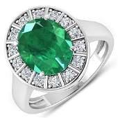 Natural 3.56 CTW Zambian Emerald & Diamond Ring 14K