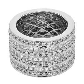Natural 5.15 CTW Princess Diamond Ring 18K White Gold -