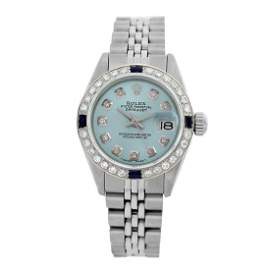 Rolex Pre-owned 26mm Womens Custom Light Blue Stainless