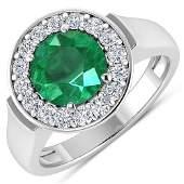 Natural 2.38 CTW Zambian Emerald & Diamond Ring 14K