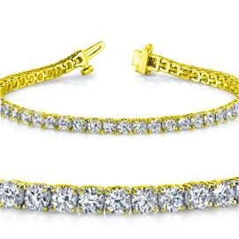 Natural 4ct VS2-SI1 Diamond Tennis Bracelet 14K Yellow