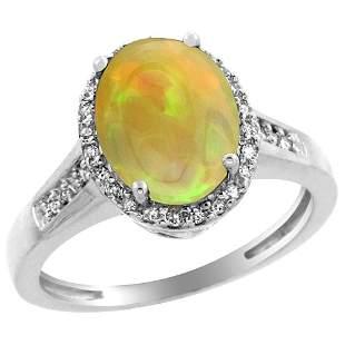 1.97 CTW Ethiopian Opal & Diamond Ring 14K White Gold -