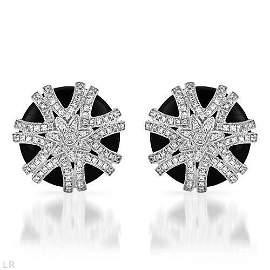 Natural 15.05 CTW Onyx & Diamond Earrings 14K White